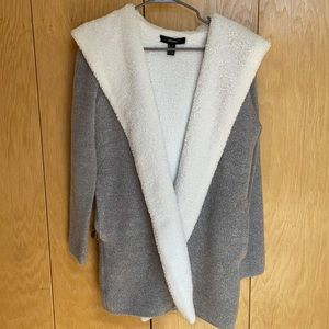 Forever 21, Gray Sweater Jacket with Hood, Small